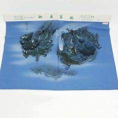Blue hauraji cloth / 水墨画調の風景柄をあしらった広幅の男物羽裏地   #Kimono #Japan http://global.rakuten.com/en/store/aiyama/