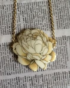 Cream, sepia-toned botanical illustration flower pendant, gold chain necklace, gift for her
