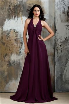 Fashionable Draped A-line Crystal Floral Pin Halter Floor-Length Polina's Bridesmaid Dress