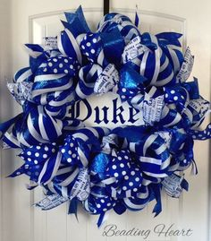 Duke Wreath Duke Blue Devils Wreath Duke by beadingheartdecor