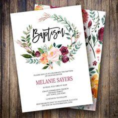 Fall Baptism Invitation Girl, Floral Baptism Invite, Gender Neutral, Greenery, Watercolor Baptism Template, Green, Burgundy, Pink, 770 - Spotted Gum Design - Etsy