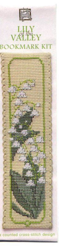 bookmark kit textile heritage kit Textile Heritage Lily of the Valley Bookmark Cross Stitch Kit Counted cross stitch kit