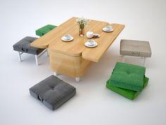 A designer ucraniana Julia Kononenko projetou um sofá multi-funcional para a sala de estar, que pode facilmente ser transformado em uma pequena mesa de jantar com seis bancos. Ergonomicamente, oferece conforto e conveniência para quem for usar já que ele se transforma em seis pequenos bancos e uma bancada de apoio. Muito interessante para quem precisa de espaço!