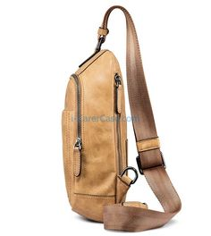 Icarercase Genuine Leather Cross Body Bag, Large Capacity Zippered Bag with Inner Multiple Card Holders,Singel-shoulder Bag for Outdoor Sports and Travel Use (Brown) Small Leather Bag, Real Leather, Classic Leather, Vintage Leather, Shoulder Backpack, Shoulder Bag, Leather Crossbody Bag, Leather Handbags, Bucket Bag