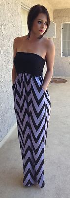 NEW Purple Black ZIG ZAG Strapless Maxi Dress Size M Boutique Brand | eBay