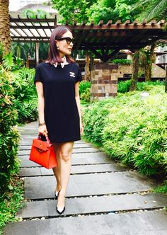 Heart Evangelista wearing Jessica black dress with a hand painted #lovemarie…