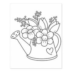 Garden watering can with flower stamp Hand Embroidery Patterns, Cross Stitch Embroidery, Embroidery Designs, Embroidery Transfers, Heart Painting, Wood Stamp, Coloring Book Pages, Garden Coloring Pages, Printable Flower Coloring Pages