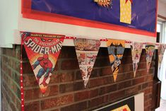 Photocopied comic book pages make great DIY bunting. | How To Throw The Most Awesome Superhero Party Ever