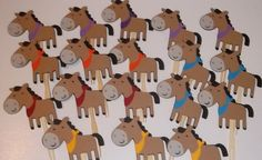 This listing is for a set of 24 Horse Cupcake Toppers. These cute little animals are made of high quality card stock and measure 3 x 2.5