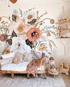 4 Wallpaper Trends You'll See in 2020 – Anewall Baby Bedroom, Baby Room Decor, Nursery Room, Girls Bedroom, Bedroom Decor, Floral Bedroom, Whimsical Bedroom, Flower Room Decor, Bedrooms