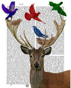 Deer & Birds Nest Wall Art Art Giclee Print Acrylic by FabFunky, $15.00