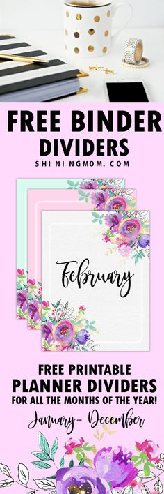 Download these free mobthly binder divider printables to organize your binders or planners! #planner #divider #printables
