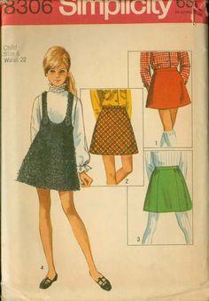 SALE Vintage 60s Simplicity 8306 Girls MOD A Line Mini Skirt and Jumper Size 6 Uncut. , via Etsy.