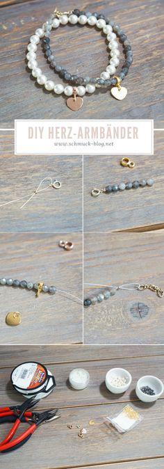 DIY romantic heart bracelets DIY heart bracelets very easy to make yourself . - DIY romantic heart bracelets DIY heart bracelets very easily. Very easy guide for beautiful DIY bra - Diy Jewelry Rings, Diy Jewelry Unique, Jewelry Crafts, Beaded Jewelry, Handmade Jewelry, Heart Jewelry, Diy Bracelets To Sell, Diy Jewelry To Sell, Diy Jewelry Making