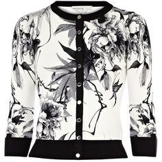 Karen Millen Oriental floral print cardigan ($160) ❤ liked on Polyvore