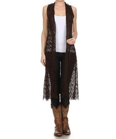 Another great find on #zulily! Chocolate Brown Crochet Vest - Women & Plus by L & B #zulilyfinds