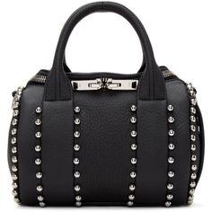 Alexander Wang Black Mini Rockie Ball Stud Bag ($760) ❤ liked on Polyvore featuring bags, handbags, black, mini duffel bag, duffel bag, zipper purse, studded duffle bag and clasp purse