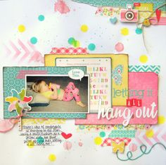 #papercraft #scrapbook #layout Letting it All Hang Out - Scrapbook.com by Missy Whidden.