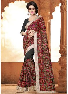 Online Shopping of Crepe And Silk Party Wear Printed Saree In Gorgeous Pink And Blue Color from SareesBazaar, leading online ethnic clothing store offering latest collection of sarees, salwar suits, lehengas & kurtis Patiala Salwar, Anarkali, Lehenga, Bridal Sarees Online, Party Wear Sarees Online, Latest Indian Saree, Indian Sarees Online, Art Silk Sarees, Georgette Sarees