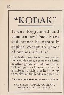 Free Vintage Clipart, Vintage Magazine Ads and Vintage Artwork Perfect for Home & Man-Cave Decor: Vintage 1917 Eastman Kodak Company Registered Trademark Original Print Ad - Film & Camera