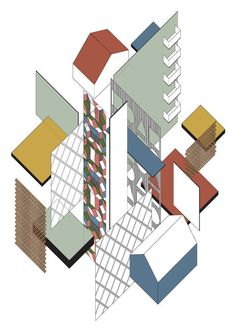 FAT's CIAC in the style of Theo van Doesburg by Yale student Tamrat Gebremichael. [via Abitare] British Architecture, School Architecture, Contemporary Architecture, Theo Van Doesburg, Deconstructivism, Famous Architects, Postmodernism, Digital, Drawings