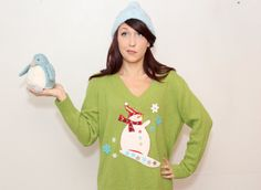 Ugly Christmas Sweater Vintage HolidayLime Green by DeLoopVintages, $35.00