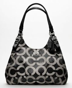 COACH MADISON OP ART SATEEN MAGGIE SHOULDER BAG Handbags   Accessories -  Macy s 157ebab3c7a6e