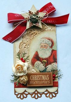 Christmas tag vintage style - love the doily