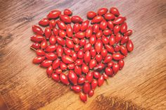 Rosehip berries, also rich in antioxidants, shaped in a heart for Valentine's Day! #rosehips #antioxidants #yummy #healthy #beauty #organicskincare