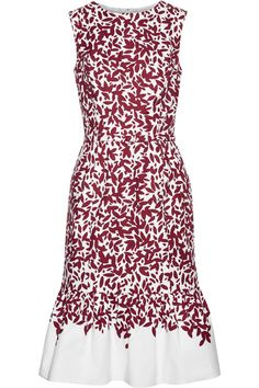 Burgundy and white cotton-blend canvas Concealed hook and zip fastening at back 96% cotton, 4% spandex; lining: 48% acetate, 46% cotton, 6% elastane Dry clean Designer color: Garnet/ White Made in Italy