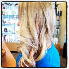 Highlight, haircut and pink streak by Michelle at Style Points Salon