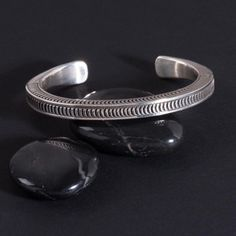 Silver Tranquility Cuff by Navajo Artist Lyle Secatero Simple Bracelets, Silver Bracelets, Bracelets For Men, Bangle Bracelets, Silver Earrings, Men's Ankle Bracelet, Art Deco, Silver Rings With Stones, Metal Clay Jewelry