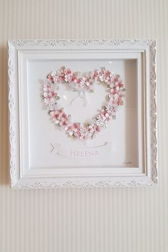 Home Crafts, Easy Crafts, Diy And Crafts, Flower Shadow Box, Baby Wall Art, Shadow Box Frames, Shabby Chic Cottage, Button Crafts, Baby Shop