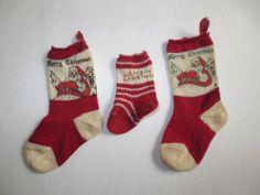 Vintage Christmas Knit Mini Stockings 1950's