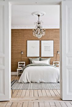 wood floors, grasscloth wallpaper, glam chandy, neutral tones