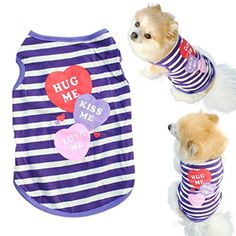 Mosunx(TM) Fashion Pet Puppy Summer Shirt Small Dog Cat Pet Clothes Stripe Vest T Shirt (M) >>> Learn more by visiting the image link.