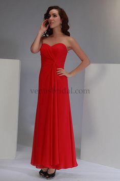 2015 Sleeveless Sweetheart Pleated Chiffon Lace Up Red Floor Length Bridesmaid / Prom Dresses By Bella 1734