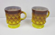 2 Yellow Anchor Hocking Fire King Kimberly Pineapple Diamond Coffee Cups Mugs  #AnchorHocking
