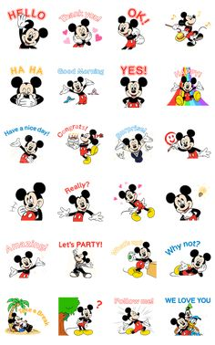Mickey Mouse springs to life in this animated sticker set, together with energetic captions to cheer up your day. Wallpaper Do Mickey Mouse, Arte Do Mickey Mouse, Minnie Mouse Stickers, Disney Mickey Mouse, Cute Stickers, Disney Lines, Cute Winnie The Pooh, Disney Background, Tsumtsum