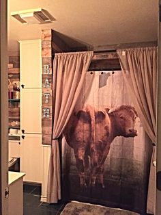 Shower Curtain Cow Door Primitive Farm House Decor by FolkandFunky More
