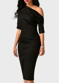 Black High Waist Back Slit Skew Neck Dress