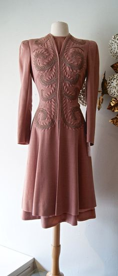 Vintage 1930s Dusty Rose Wool Crepe princess coat and dress set by xtabayvintage, $398.00