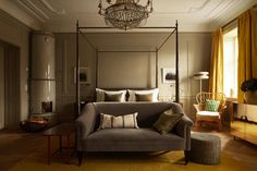 stunning bedroom , gold and gray is amazing