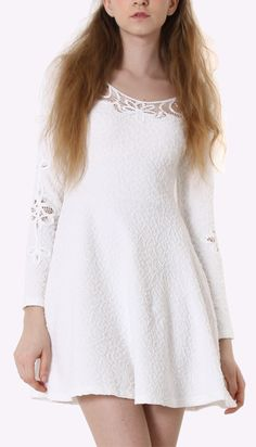 Cut Out Floral Lace White Dress 60's influence