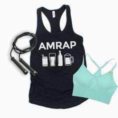 AMRAP Beer funny gym shirt, Crossfit shirt, workout tank for women, funny beer shirt Beer Humor, Gym Humor, Beer Funny, Funny Crossfit Shirts, Funny Shirts, Gym Tank Tops, Athletic Tank Tops, Funny Drinking Shirts, Beer Shirts