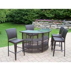 65149dae4df Elite 5-Piece Wicker Outdoor Serving Bar Set-HD90096-90054-5-CF - The Home  Depot