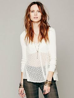 Free People Embellished Swing Pullover