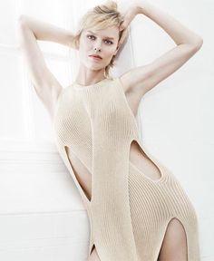 Stella McCartney - Eva Herzigova wearing the summer '15 ribbed twisting knit dress...