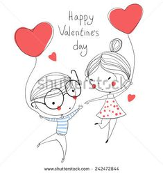 Valentine's Day. Boy and girl. Love cards.