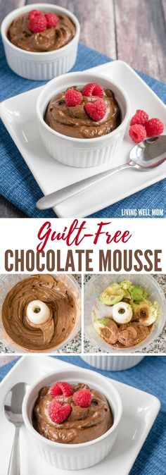 This Guilt-Free Chocolate Mousse tastes amazing and is GOOD for you! This sweet chocolately dessert recipe is quick and easy too, requiring less than 5 minutes. (Dairy-free, refined sugar-free, Paleo-friendly recipe)